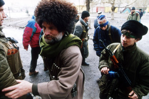 A group of the Chechen boyeviki (fighters) during the First Chechen War, c 1994-1996