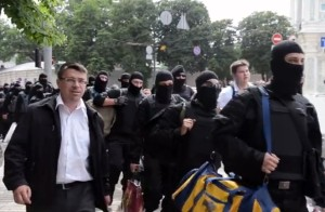 Oleh Odnoroshenko with Azov volunteers