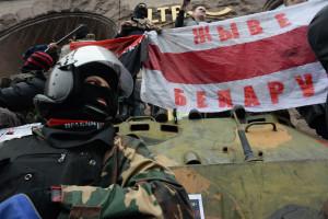 Pravyi Sektor(Roght Sector) activists. Euromaidan, Kyiv, Ukraine. Events of February 22, 2014.
