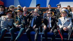 Sergey Shoigu, Vladimir Putin and Dmitry Medvedev 9 May 2013