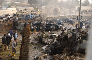 A car bomb was detonated in the parking lot of an Iraqi police station outside the gate of the Green Zone near the Al-Rasheed Hotel in Baghdad, Iraq, on Dec. 4, 2004.