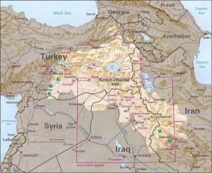 Kurdish inhabitated area c 1992