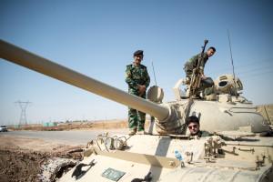 Kurdish Peshmerga militia on T-55 tank, c. June 2014