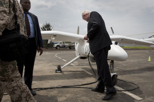 UN Secterary General for Peacekeeping Operations inspects UAV that will be used in DRC, c. 2011