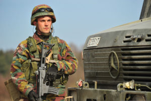 Belgian soldier on EU Battlegroup exercise in Germany, 2014