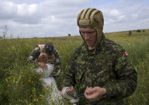 Canadian forces participate in airborne operations during Rapid Trident 2011