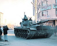 Military tanks moving in Sincan in 1997