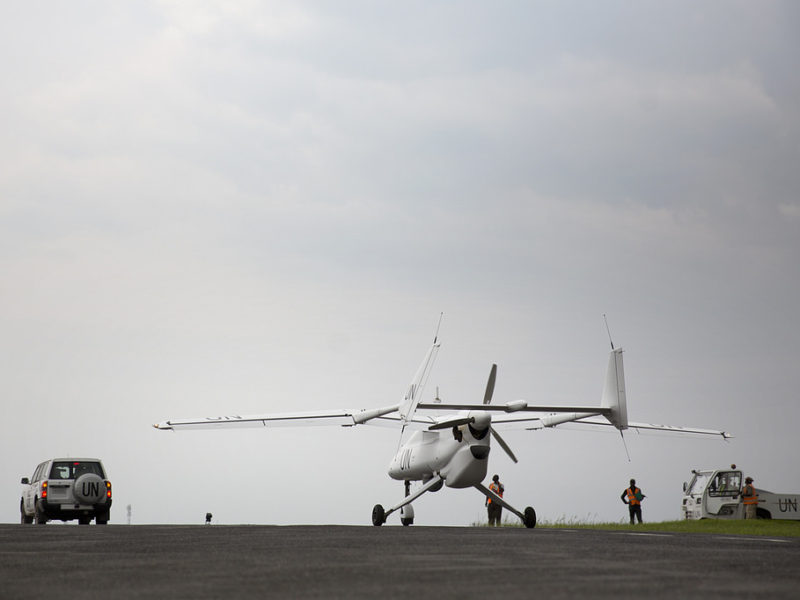 UN UnmannedUnarmed Aerial Vehicles (UAV) is taxiing in at Goma airport
