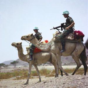 Dutch peacekeepers on patrol in Eritrea.