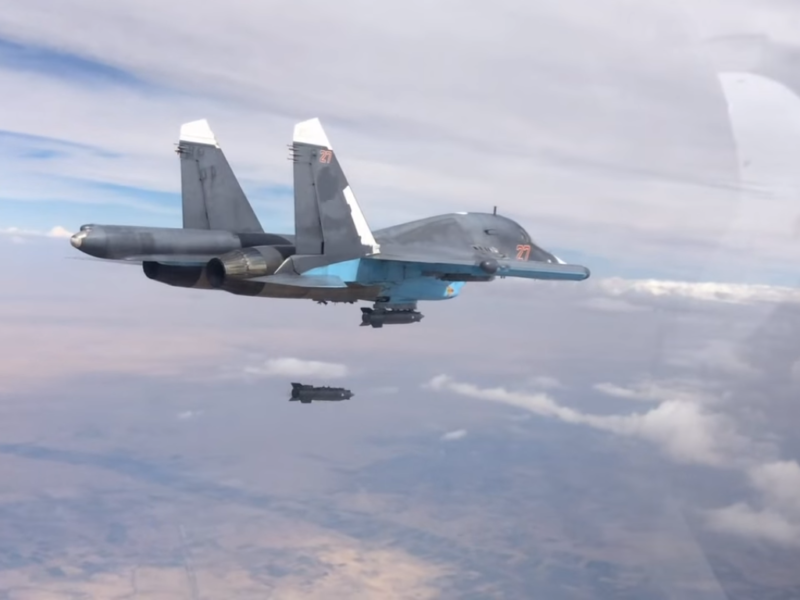 Russian Airforce Sukhoi bombing a target in Syria