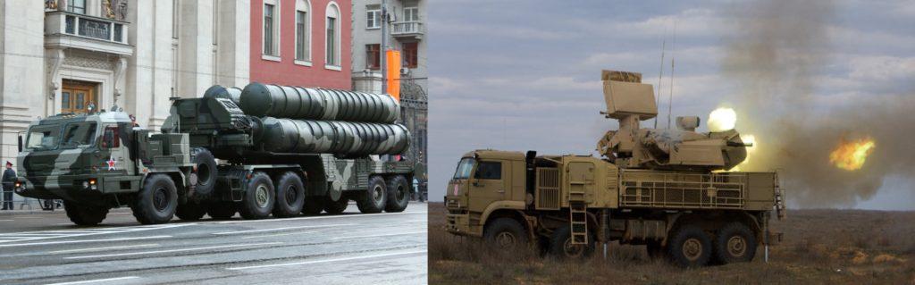 Left: S-400 (SA-21 Growler) Right: Pantsir-S1 (SA-22 Greyhound)